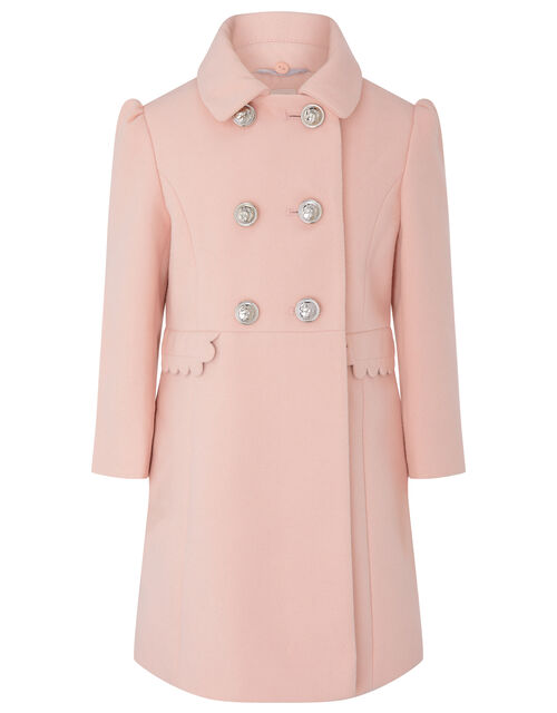 Scallop Trim Double-Breasted Coat, Pink (PINK), large