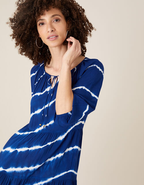 Tie-Dye Tunic Dress in LENZING™ ECOVERO™, Blue (NAVY), large