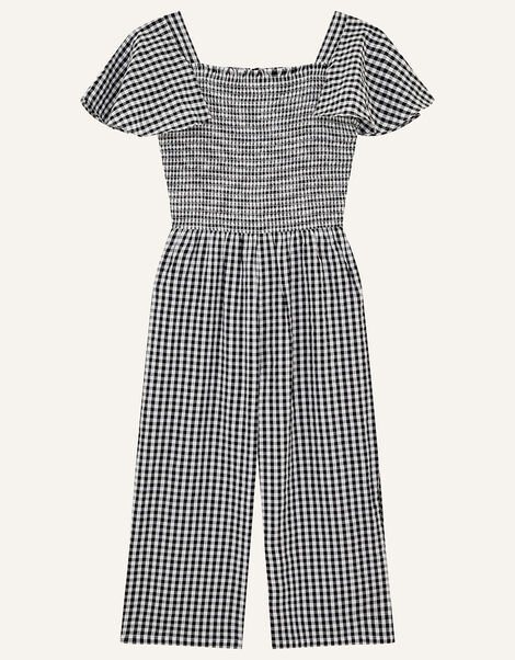 Gingham Shirred Jumpsuit  Black, Black (BLACK), large
