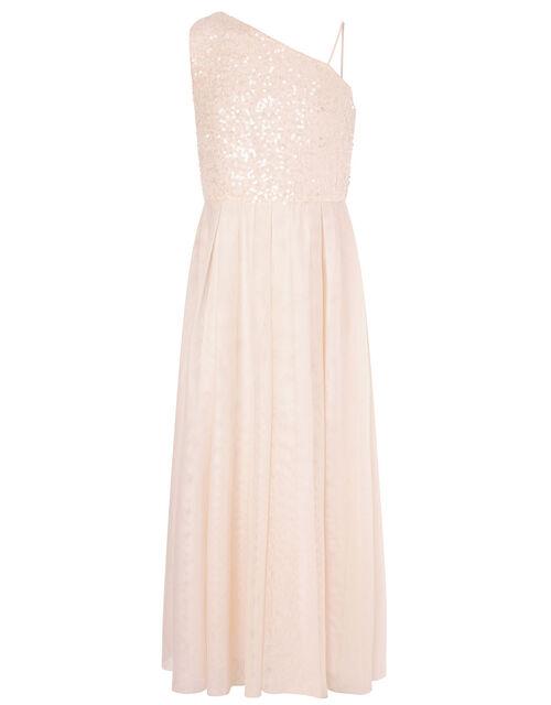 Sequin One-Shoulder Prom Dress, Natural (CHAMPAGNE), large