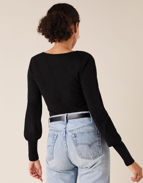 Square Neck Knit Jumper with LENZING™ ECOVERO™, Black (BLACK), large