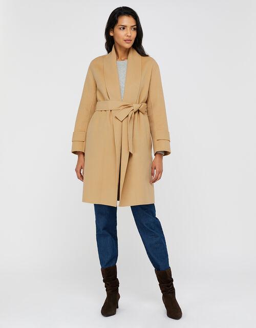 Bella Blanket Wrap Coat, Camel (CAMEL), large