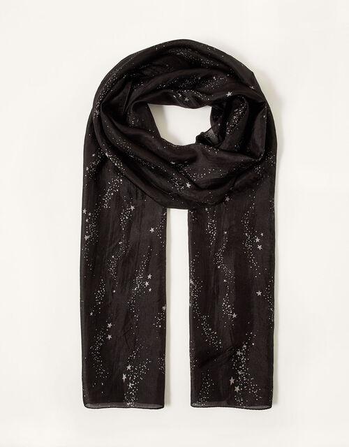 Star Print Silk Skinny Scarf, , large