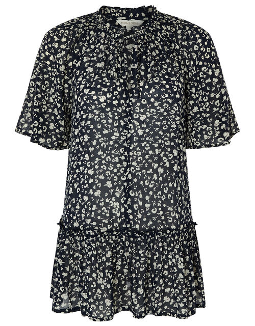 Natalie Printed Blouse in Sustainable Viscose, Blue (NAVY), large