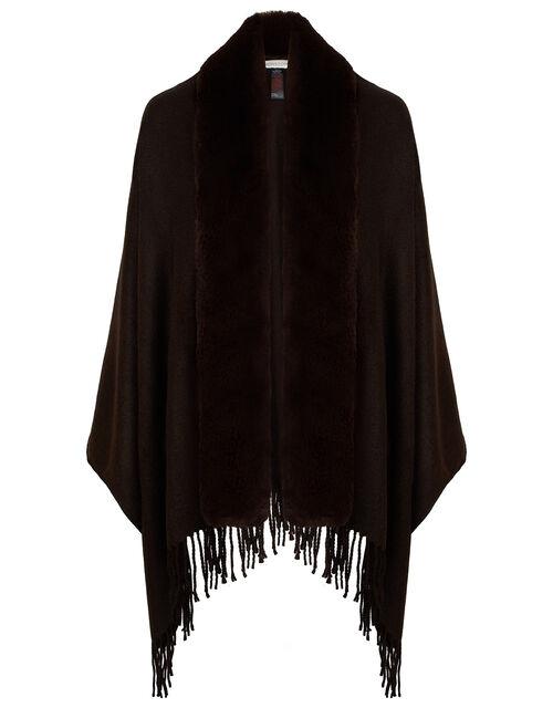 Faux Fur Wrap, Brown (CHOCOLATE), large