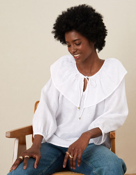 Frill Neck Top in Linen Gauze Ivory, Ivory (IVORY), large