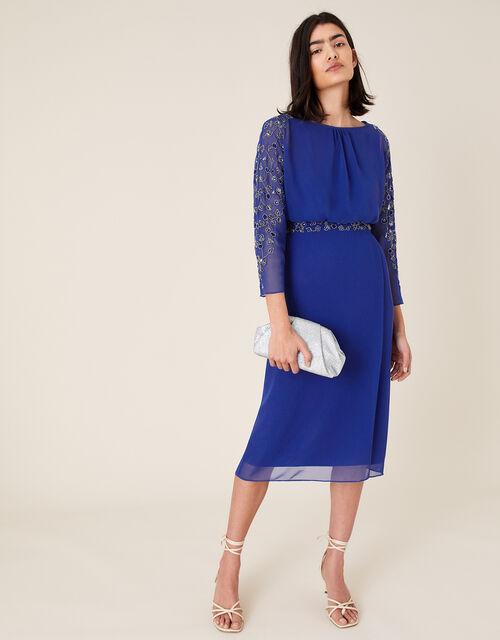 Clover Embellished Dress, Blue (COBALT), large