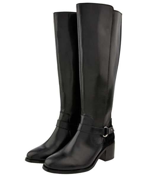 Edie Long Leather Boots, Black, large