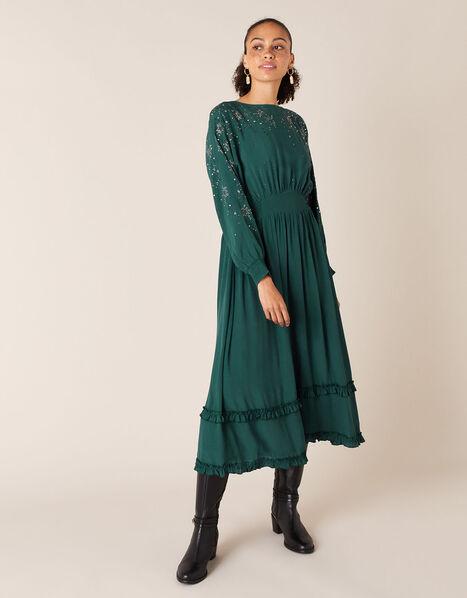 Star Heat-Seal Gem Midi Dress Green, Green (DARK GREEN), large