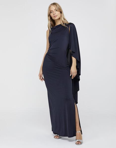 Ophelia One Shoulder Cape Maxi Dress Blue, Blue (NAVY), large