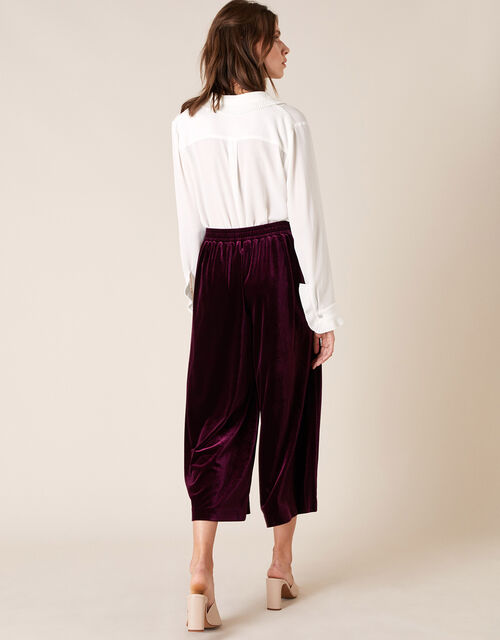 Velvet Cropped Trousers, Purple (PLUM), large