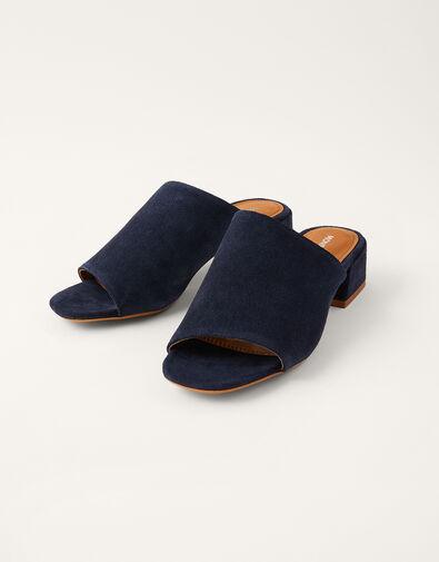 Suede Block Heel Mules Blue, Blue (NAVY), large