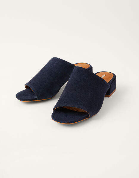 Suede Block Heel Mules Blue, Blue (NAVY), large
