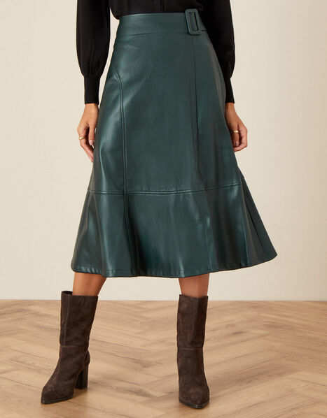Belted Leather-Look Skirt Green, Green (GREEN), large