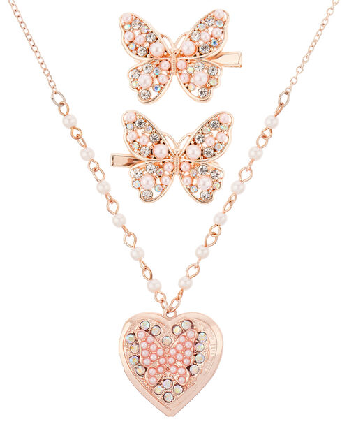 Venita Pearly Locket Necklace and Hair Clip Set, , large