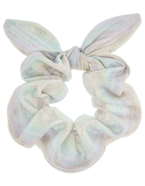 Rainbow Shimmer Pleated Bow Scrunchie, , large