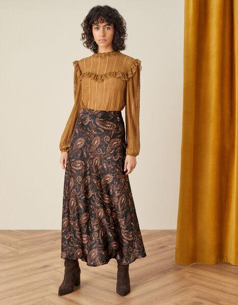 Anya Paisley Bias Satin Skirt Black, Black (BLACK), large