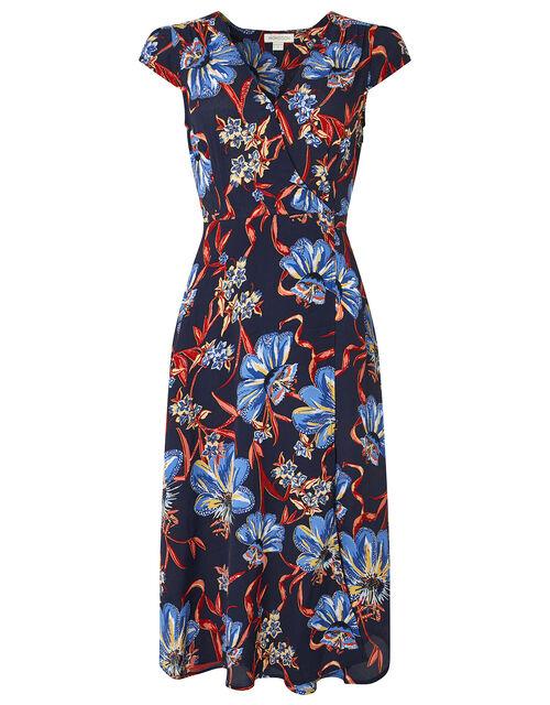 Jala Floral Wrap Midi Dress, Navy, large