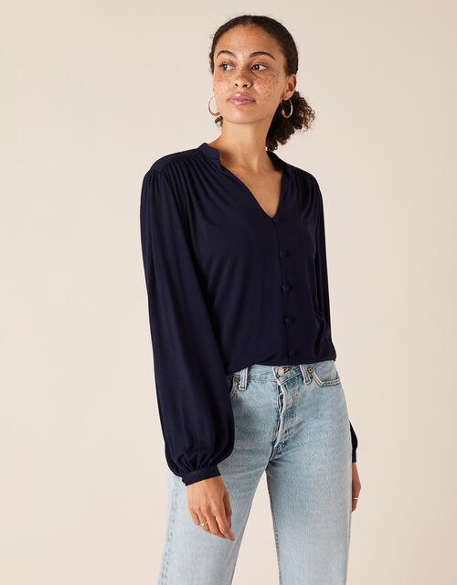 Button-Through Jersey Shirt, Blue (NAVY), large