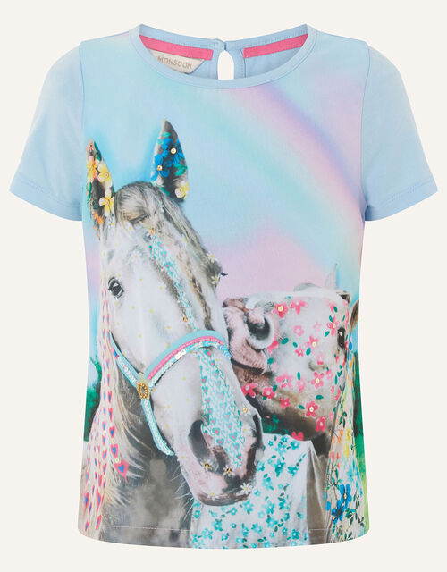 Majestic Horse T-Shirt , Blue (BLUE), large