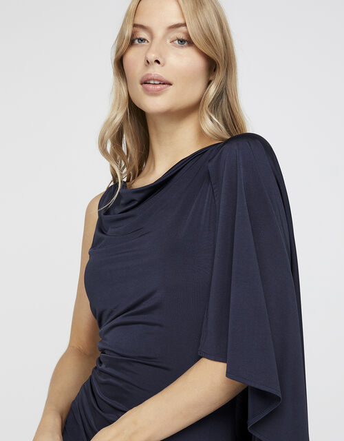 Ophelia One Shoulder Cape Maxi Dress, Blue (NAVY), large