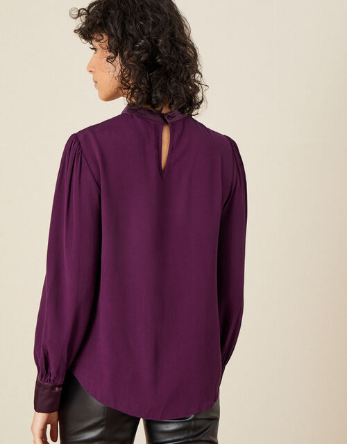 High Neck Pleated Long Sleeve Blouse, Red (BURGUNDY), large