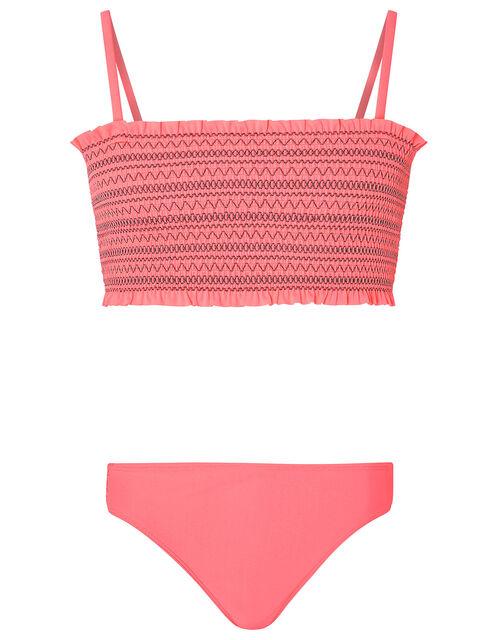 Stitchy Shirred Bikini Set, Orange (CORAL), large