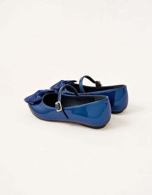 Organza Bow Patent Ballerina Flats, Blue (NAVY), large