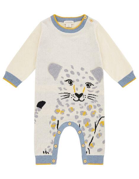 Newborn Baby Leopard Sleepsuit in Organic Cotton Ivory, Ivory (IVORY), large