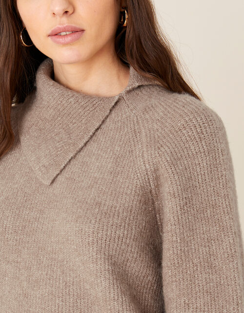 LOUNGE Split Neck Knit Jumper , Brown (MOCHA), large