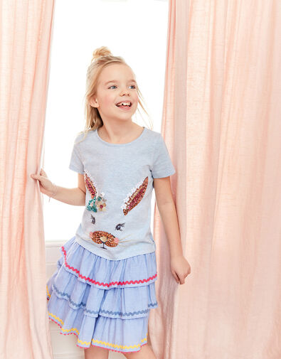 Sequin Bunny T-Shirt Blue, Blue (BLUE), large