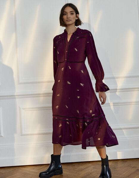 Embellished Long Sleeve Midi Dress Purple, Purple (PURPLE), large