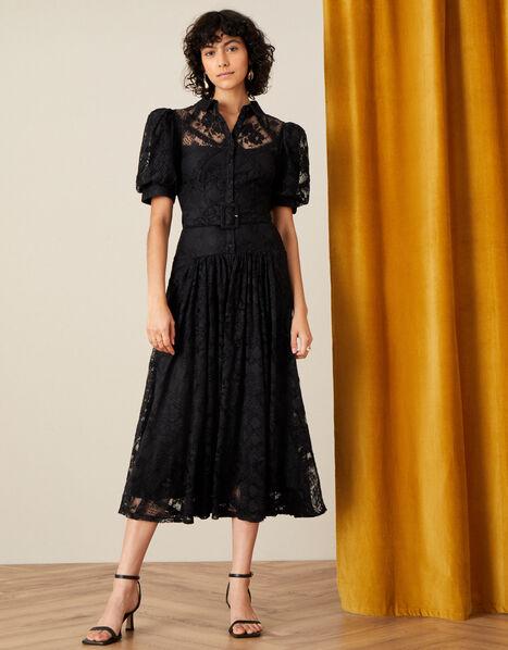 Leila Lace Shirt Dress Black, Black (BLACK), large