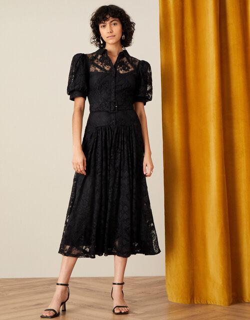 Leila Lace Shirt Dress, Black (BLACK), large