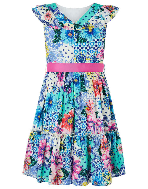 Blue Flower and Polka-Dot Tiered Dress, Blue (BLUE), large