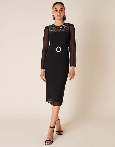 Donatella Embellished Shift Dress Black, Black (BLACK), large