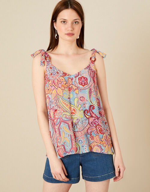 Paisley Print Cami in LENZING™ ECOVERO™, Pink (PINK), large