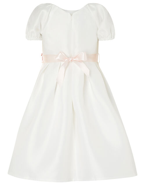 Corsage Belt Puff Sleeve Dress, Ivory (IVORY), large