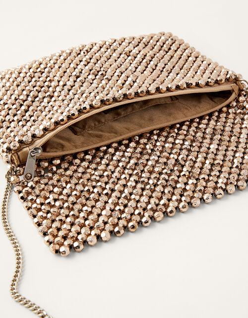 Metallic Beaded Occasion Bag, , large