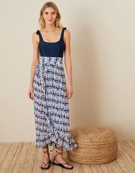 Printed Wrap Hem Skirt Blue, Blue (NAVY), large