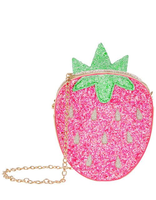 Pineapple and Strawberry Reversible Glitter Bag, , large