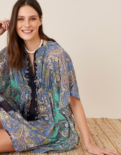 Bright Paisley Print Kaftan in Organic Cotton , Blue (BLUE), large