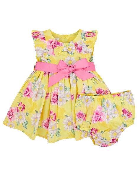 Newborn Baby Floral Dress Set Yellow, Yellow (YELLOW), large