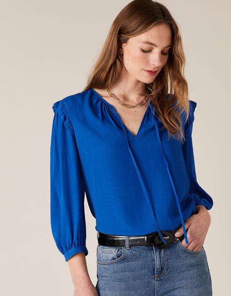 Tie Neck Top with Sustainable Viscose Blue, Blue (COBALT), large