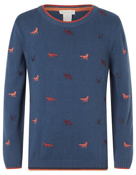 Embroidered Fox Knit Jumper in Organic Cotton Teal, Teal (TEAL), large