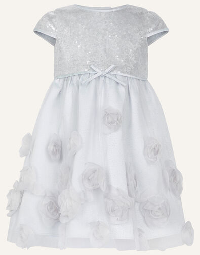 Baby Sequin 3D Rose Dress Silver, Silver (SILVER), large