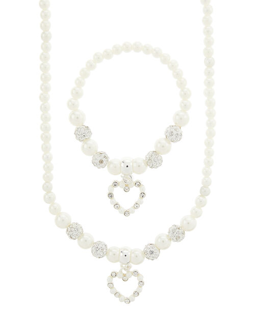Pearl and Diamante Heart Jewellery Set, , large