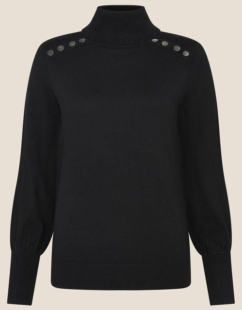 Studded High Neck Knit Jumper, Black (BLACK), large