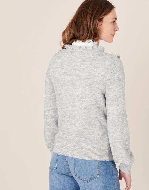 Ruffle Pointelle Knit Jumper, Grey (GREY), large
