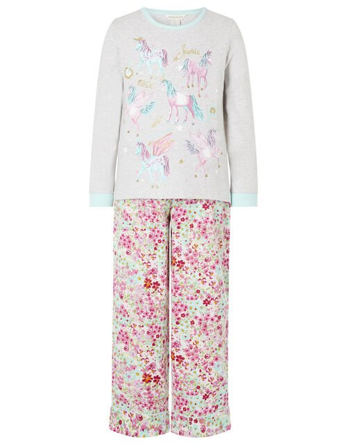 Unicorn Floral PJ Set in Organic Cotton, Camel (OATMEAL), large